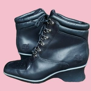 Vtg Black Leather Womens Timberland Boots